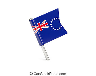 Flag pin of cook islands isolated on white