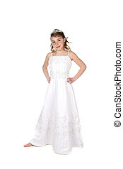 pretty little girl dressed in white bridesmaid or princess dress and tiara