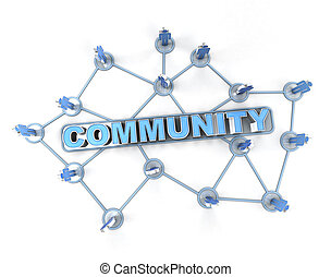 Linked community - 3D rendering of a group of interconnected...