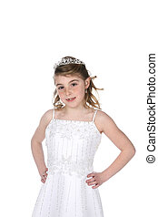 pretty girl in white beaded dress and tiara