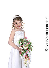 pretty girl in white gown and holding bouquet of flowers