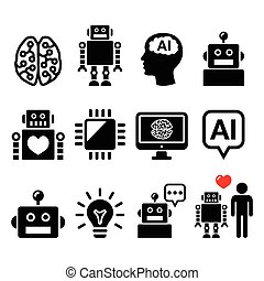 Artificial Intelligence AI, robot - Vector icons set of...