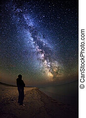 Milky Way. Beautiful summer night sky with stars and...