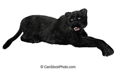 Black Panther - 3D digital render of a black panther...