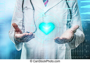 doctor with futuristic heart hologram design on background
