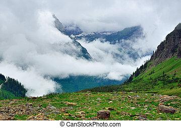 high alpine landscape of the glacier national park in summer