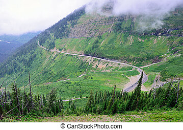 going to the sun road in glacier national park, montana in...