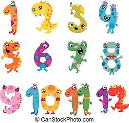 Cartoon monsters numbers