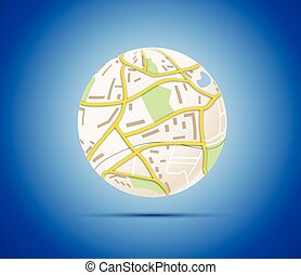 Globalization concept globe with map of city