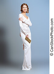 high fashion - Full length portrait of a beautiful woman in...