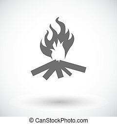 Bonfire. Single flat icon on white background. Vector...