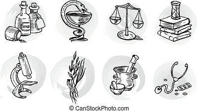 Vector pharma symbols.