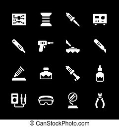Set icons of soldering isolated on black