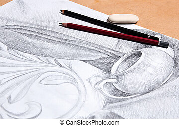 Drawing of still life by graphite pencil. - Drawing of still...