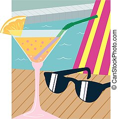 Cocktail and shades - Montage of shades, cocktail, deckchair...