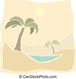 Oasis - A desert oasis with palm trees and warm sun