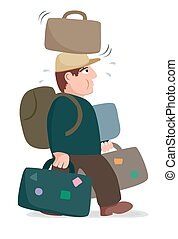 Overloaded luggage - Cartoon image of a man with too much...
