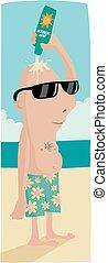 Sun lotion baldy - Cartoon image of a bald man on the beach...