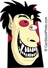 Mad monster - Cartoon image of a sharp toothed manic monster...