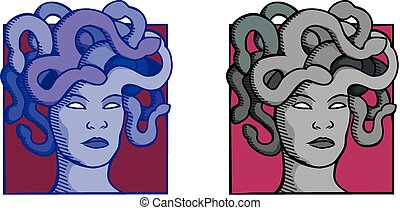 Medusa - Two colour variations of a portrait of the gorgon...