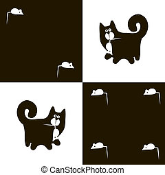 Black cat and white mouse 2x4 - Agile black cat with a mouse