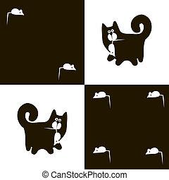 negro, gato, y, blanco, ratón, 2X4,