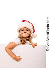 apontar, bandeira, Natal, menina, chapéu, branca