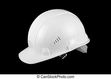 White helmet isolated on black background
