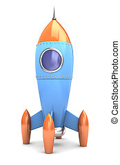 space rocket - 3d illustration of space rocket, stand over...