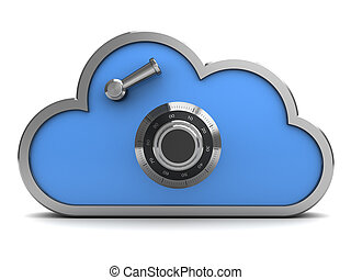 encrypted cloud - 3d illustration of code protected cloud,...