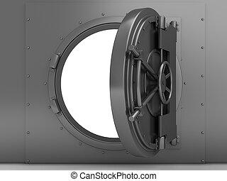 opened vaulted door - 3d illustration of bank vaulted door,...