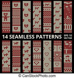Fabric stitched background patterns - Stitched seamless...