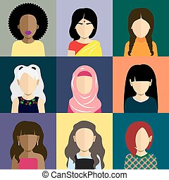 People icons set in flat style with faces Vector avatars...