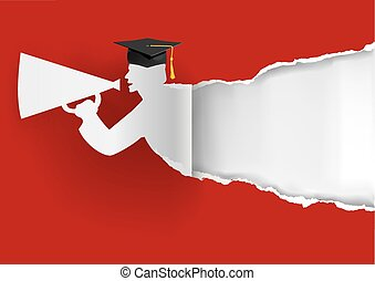 Paper graduate ripping paper - Red Graduation background...