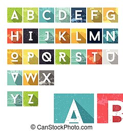 Grunge Dust Colorful Alphabet Icons - Typography Element -...