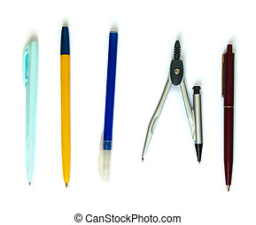 isolated pens and compasses - Pens and compasses on white...