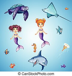 Set of cartoon underwater inhabitants, mermaids, fish,...