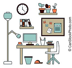 Creative office workspace. - Flat design vector illustration...