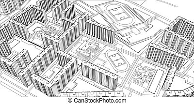 Wire-frame buildings Vector - Wire-frame buildings Top view...