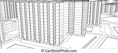 Wire-frame buildings Vector illustration, 3d render...