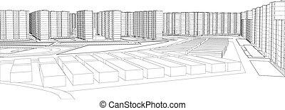 Wire-frame buildings. Vector illustration, 3d render....