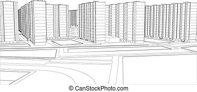 Wire-frame buildings Vector illustration, 3d render...