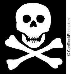 Skull and Crossbones on black background