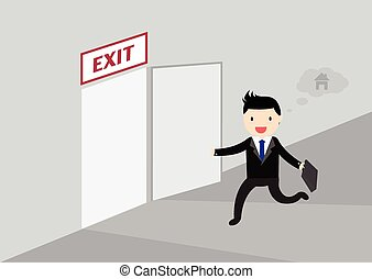 Get Off Work Concept - Businessman running exit door sign he...
