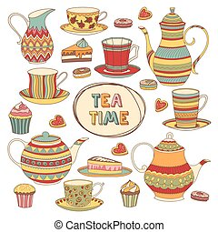 Tea Time Cartoon Scrapbook Set. Menue Template. Isolated...