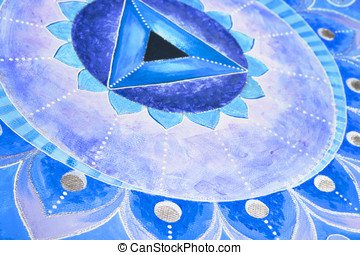 abstract blue painted picture mandala of Vishuddha chakra -...