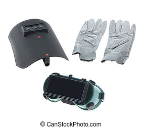 Welding Tools - Tools, welding mask, gloves, isolated on...