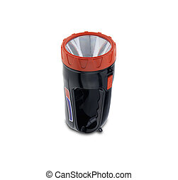 flashlight - Of plastic flashlight isolated on white...