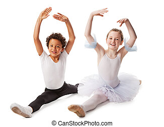 interracial children dancing together, isolated on white...