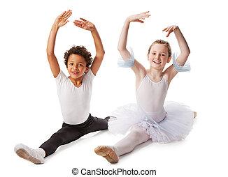 interracial, niños, bailando, juntos, aislado,...